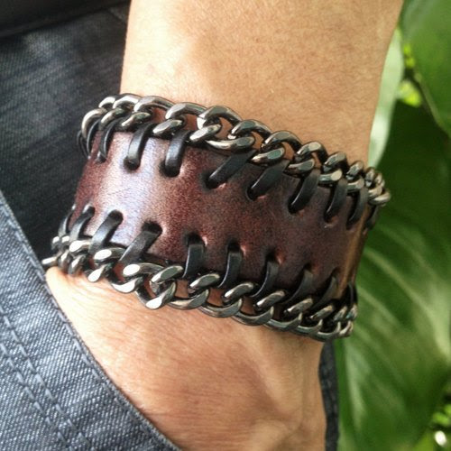 Antique Men's Brown Leather with Metal Chains Cuff Bracelet, Leather Wrist Band Wristband Handcrafted Jewelry SL2499