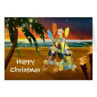 Tropical Kayak Christmas Tree Greeting Card