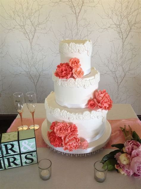 Lace Wedding Cake, Coral Pink Roses..   Wedding Cakes