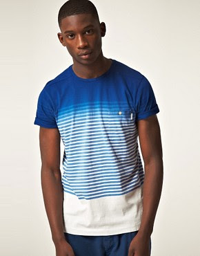 Image 1 ofPaul Smith Jeans Dip Dye Stripe T-Shirt