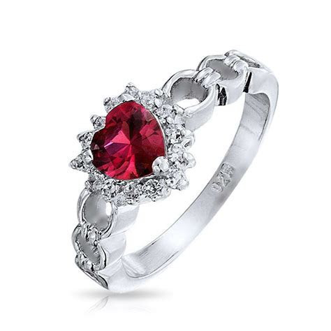 Garnet Color Heart CZ Sterling Silver Love Links Ring
