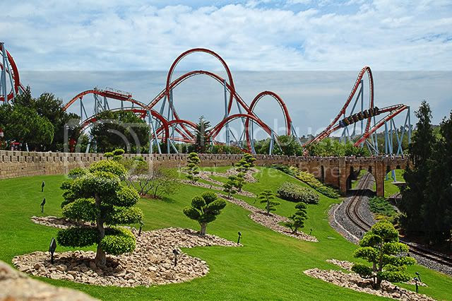 Port Aventura Amusement Park: Dragon Khan Attraction, Salou, Tarragona, Spain [enlarge]