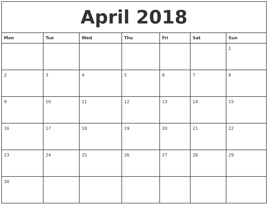 april 2018 printable monthly calendar monday start