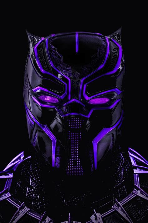 wallpaper black panther neon artwork  creative