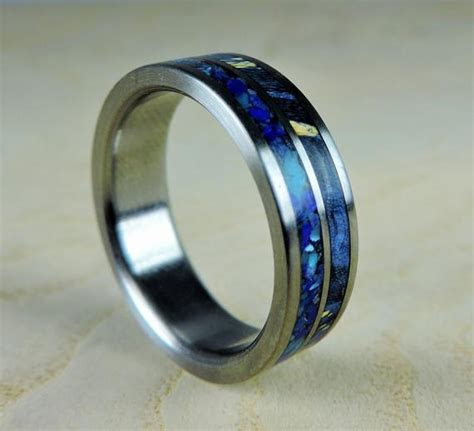 Wedding Band for Men Mens Titanium Ring Wooden Wedding Band