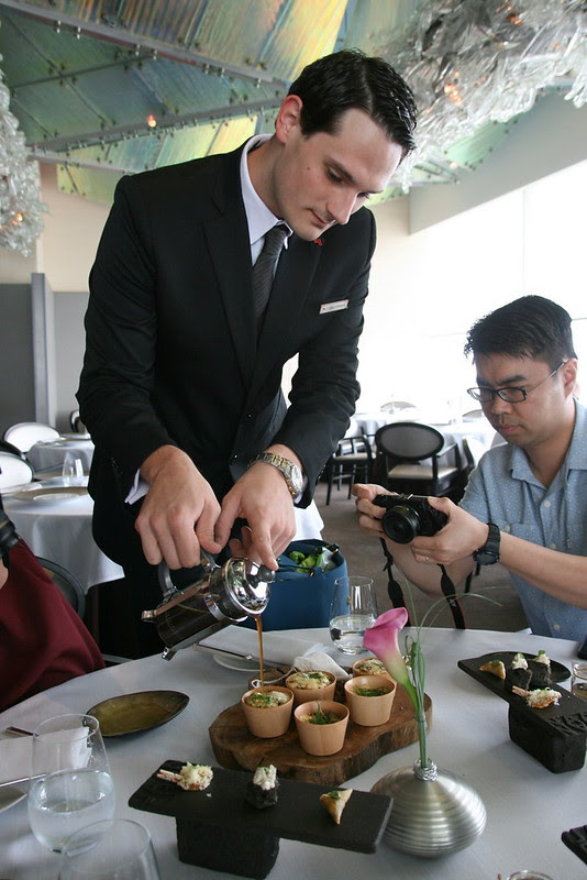 Mushroom tea is poured onto the cepes sabayon