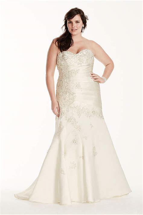 Lace and Satin Plus Size Mermaid Wedding Dress   Davids Bridal