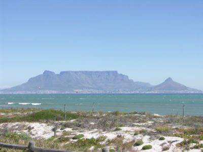 Cape Town and Table Mountain viewed from Bloubergstrand across Table Bay.