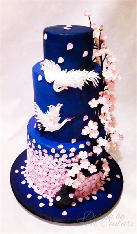 Oriental/cherry blossom themed wedding cake.   cake by