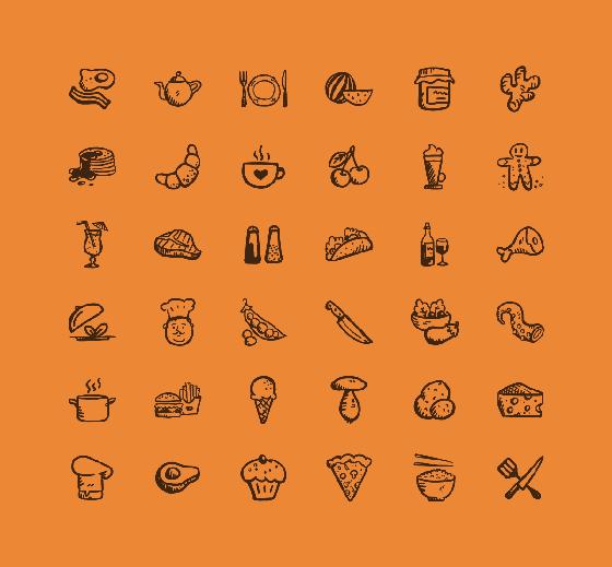 フリー素材 温もり感のある手描きタッチが可愛い食べ物のイラスト
