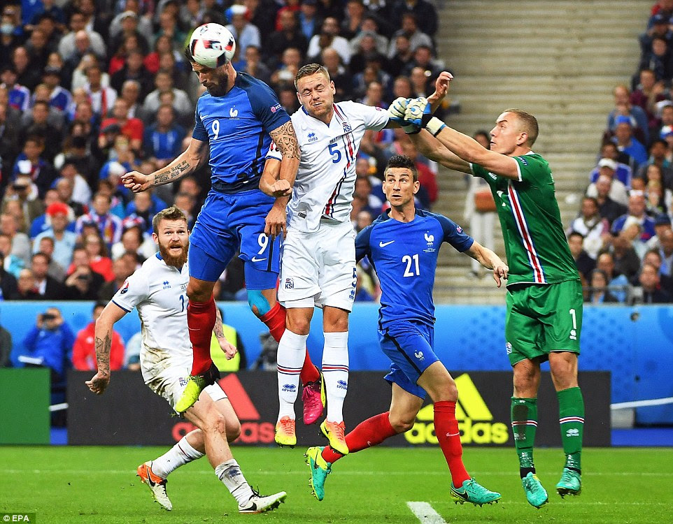 The powerful striker headed home a Payet free-kick - despite the presence of two Iceland challenges, getting in front of keeper Halldorsson