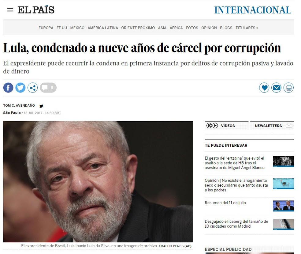 Jornal espanhol 'El País' repercute condenação de Lula na Lava Jato (Foto: Reprodução/ El País)