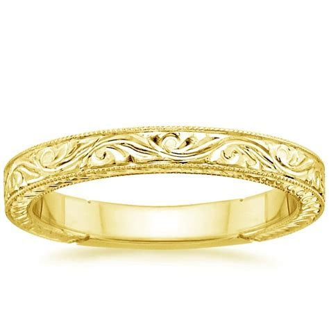 Hand Engraved Laurel Ring in 18K Yellow Gold