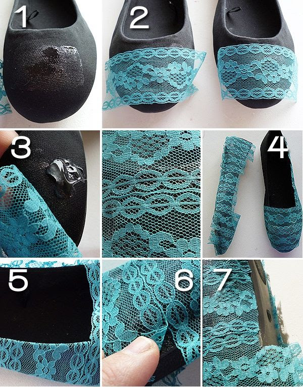 Want to do this with white shoes and white lace or an ivory/off-white color! -  27 Useful Fashionable DIY Ideas