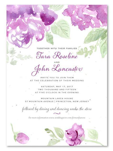 Purple Flower Wedding Invitations on seeded paper