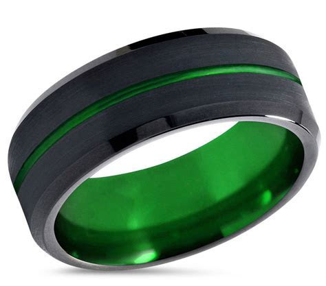 Tungsten Ring Mens Black Green Wedding Band Tungsten Ring