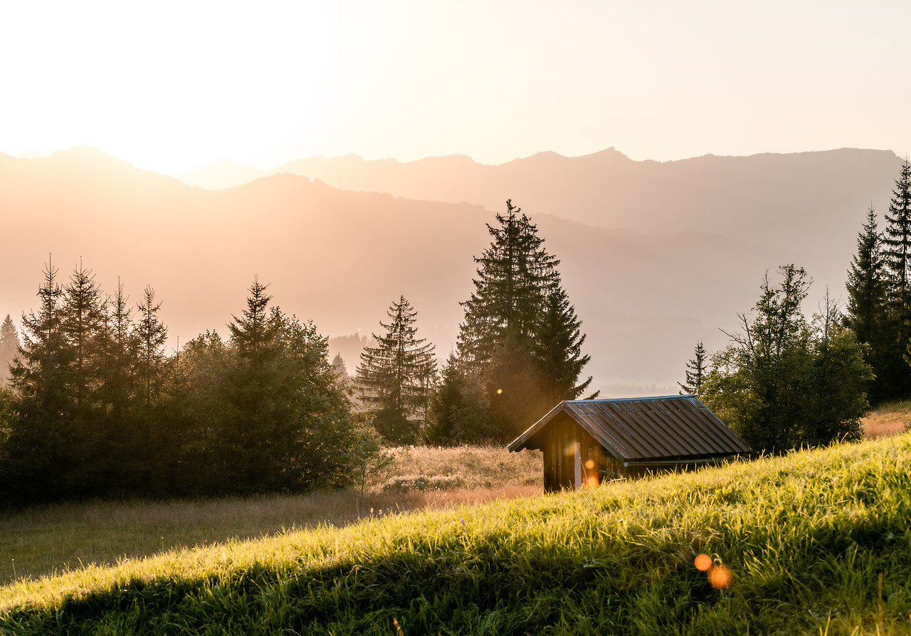 Sunlit cabin in the Bavarian Alps. Submitted by Lukas Guske / @lukasgsk