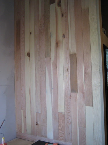 fridge divider wall covered in beadboard