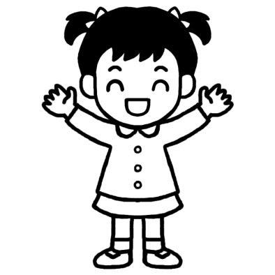 女の子2幼児ポーズ人物無料白黒イラスト素材