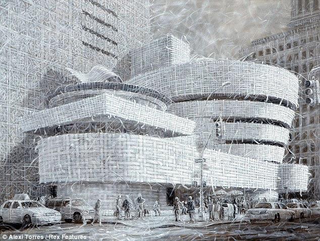 Guggenheim: Isso pode parecer uma imagem icônica de tecidos de Nova York, Guggenheim Museum, mas foi realmente pintado