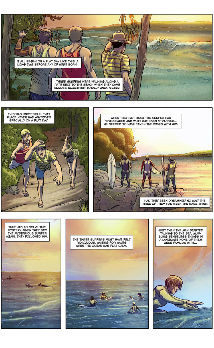 The Wave Conjurer (Page 2): a surf comic by Maxi González, Juan Martínez Alarcón, and Carlos Rios