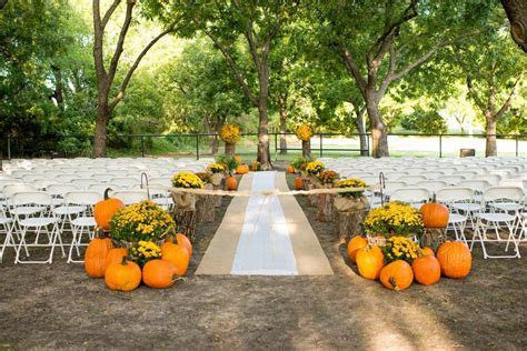 Outdoor Fall Wedding   Burlap runners, Orange flowers and