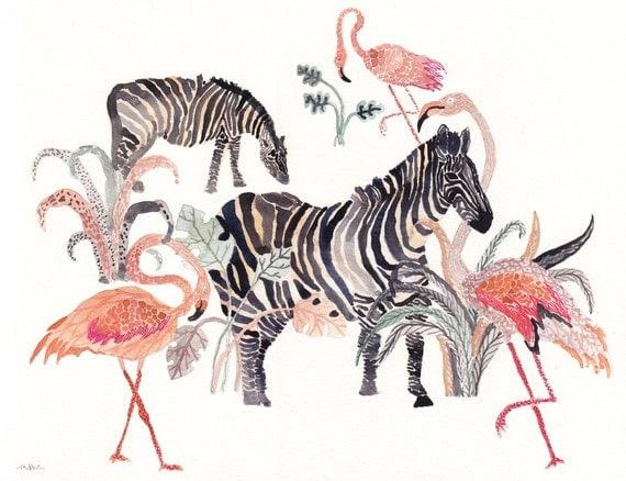 Zebras and Flamingos - Original watercolor painting