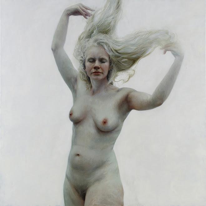 Oil Hannah sobre tela, 66 x 66 polegadas