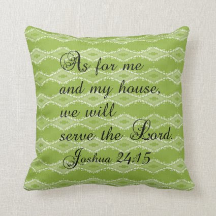Green Pattern Joshua 24:15 Bible Verse Pillow