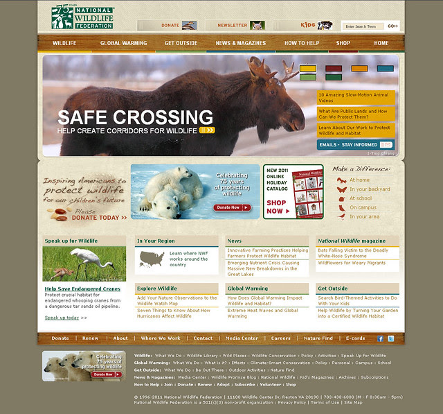 Homepage of National Wildlife Federation, Oct 2011