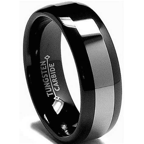 8mm Mens Black Tungsten Carbide Wedding Engagement Comfort