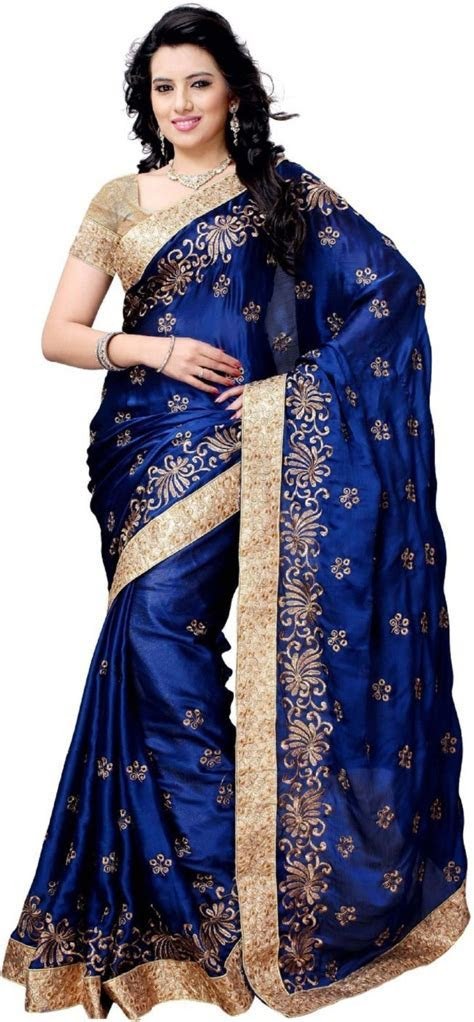 Buy Julee Embroidered Fashion Satin Blue Sarees Online
