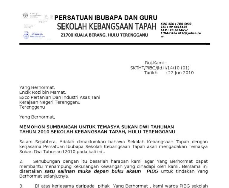 Surat Rasmi Permohonan Sumbangan Selangor K