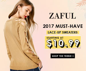 Must Have Lace-Up Sweasters Sale at Zaful.com. Ends: 30/9/2017.