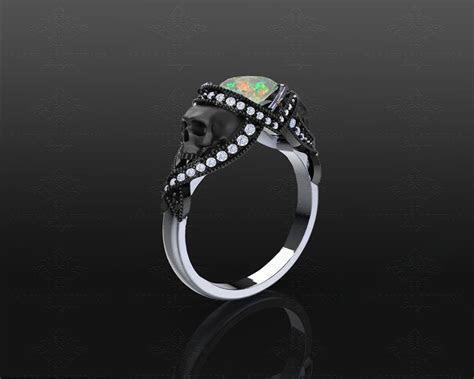 'St. Noir? 1.65ct Opal White/Black Gold Skull Engagement Ring
