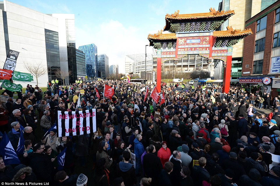 A far larger gounter demonstration took place in Newcastle today, pictured, with representatives from several trade unions