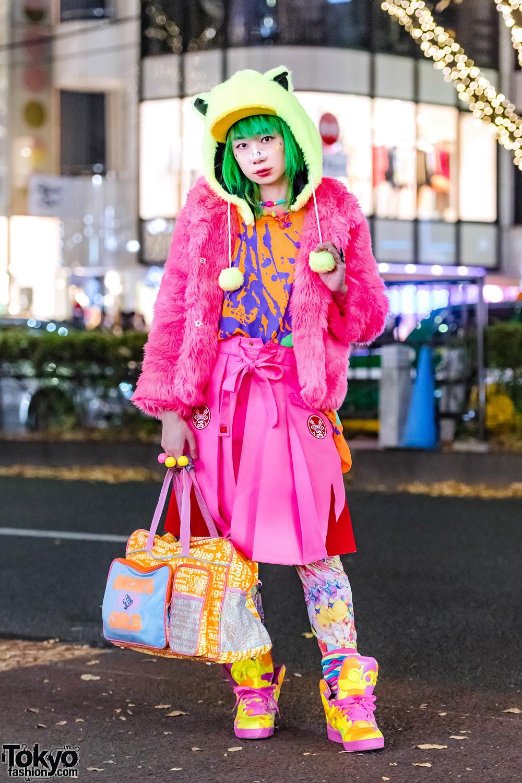 green hair  kawaii harajuku streetwear style w galaxxxy
