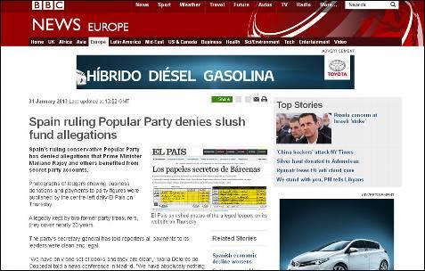 El gobernante Partido Popular español niega las acusaciones sobre fondos ilícitos, dice la BBC.