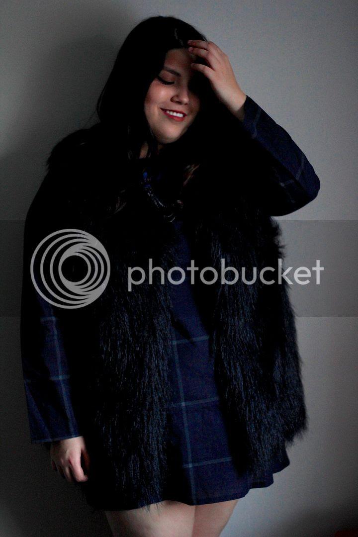plus size fashion banggood review plaid plus size dress faux fur