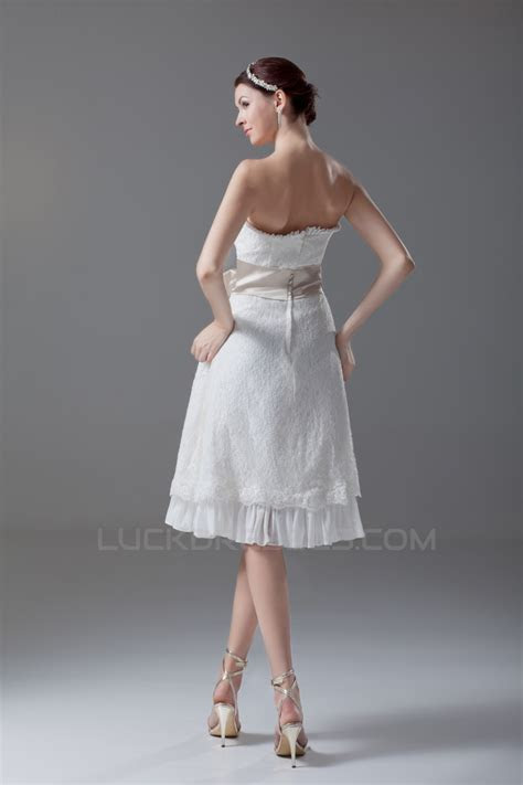 A Line Strapless Satin Lace Sleeveless Short Wedding