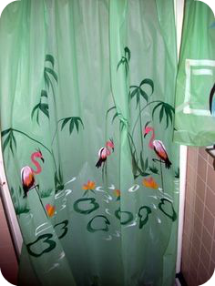 flamingo shower curtain