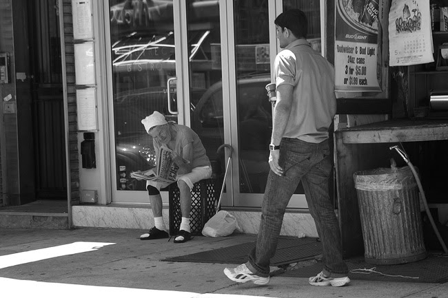 On the sidewalk, in Alphabet City