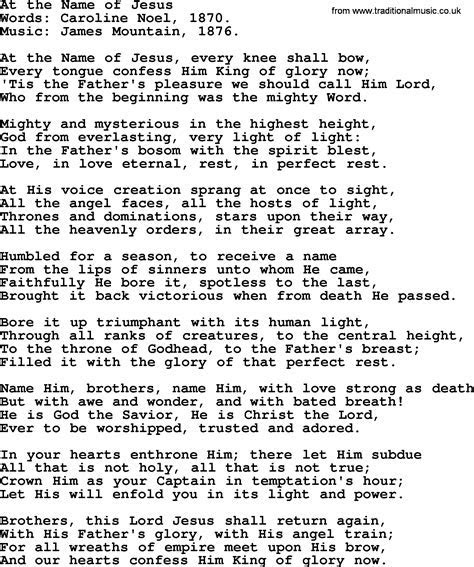 Wedding Hymns and songs: At The Name Of Jesus.txt   lyrics