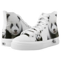 Panda Zipz High Top Sneakers, Printed Shoes