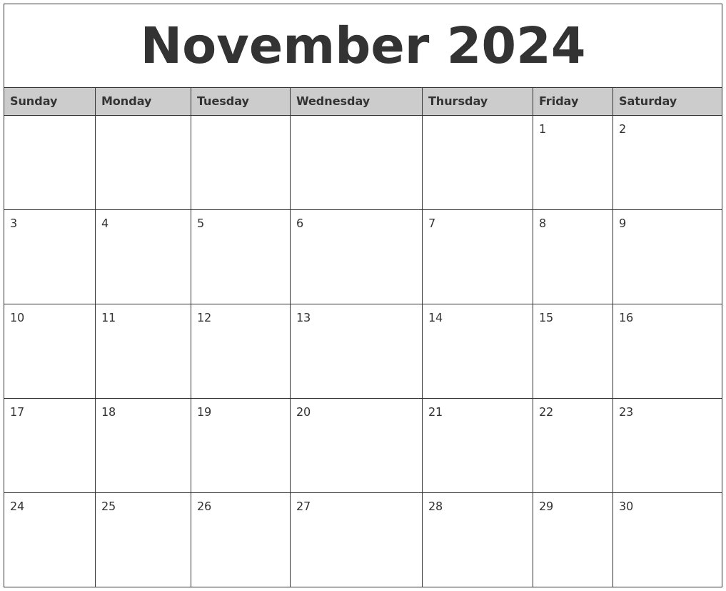 november 2024 monthly calendar printable full weekday