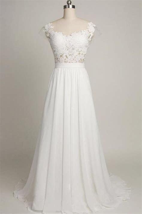 Pure White Cheap Wedding Dress 2018 Lace Chiffon Open Back