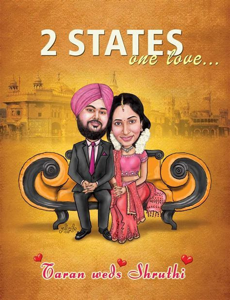 """""""2 states one love"""" wedding concept.   Wedding Caricatures"""