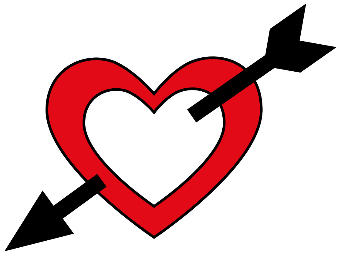 Heart With Arrow Clipart Black And White