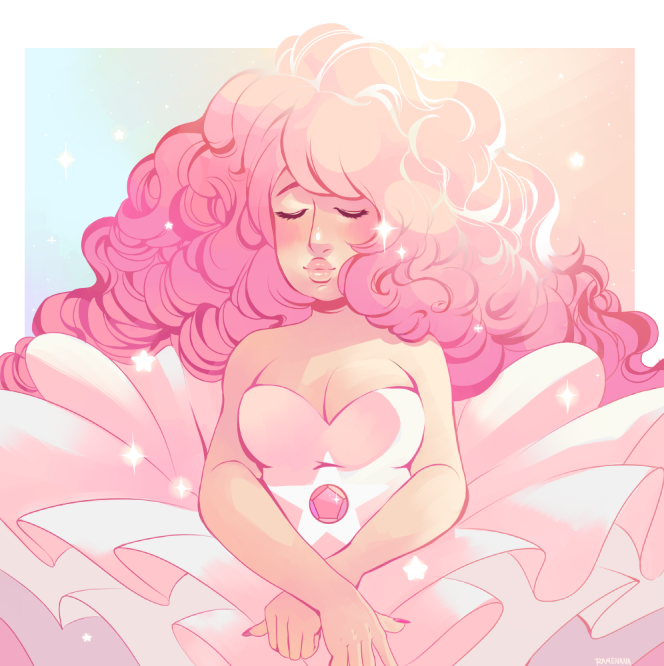 Portrait of Rose Quartz! I wanted to redraw the portrait of rose quartz since I first saw it! Had to make it extra sparkly ofc.