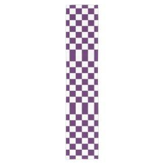 Checkered Purple and White Table Runner Short Table Runner